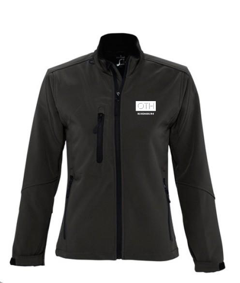 Damen Softshell-Jacke mit kleinem Logo, schwarz