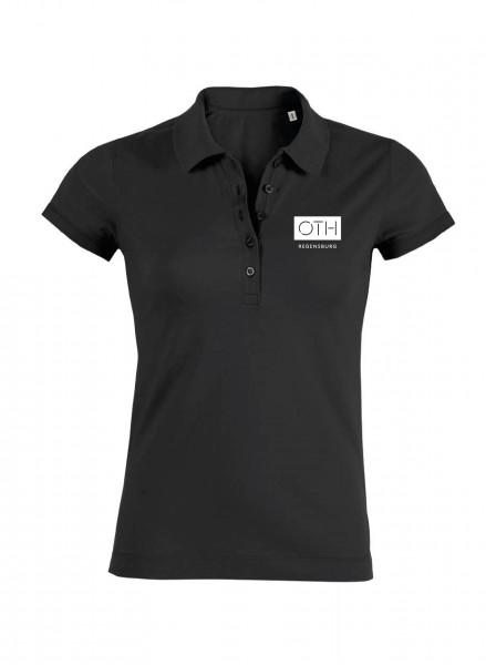 Damen Poloshirt, schwarz