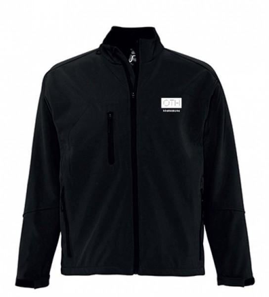 Herren Softshell-Jacke mit kleinem Logo, schwarz